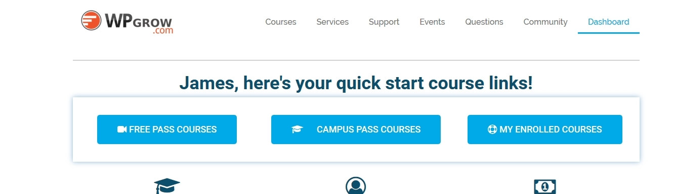 Your Course Dashboard Instant access to the complete library of courses.