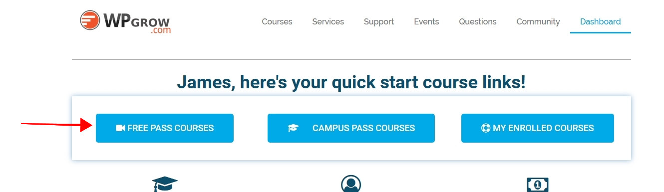 Just Starting? Free Pass members get access to a number of great courses. Use the Free Pass Courses Button to view the courses available to you.
